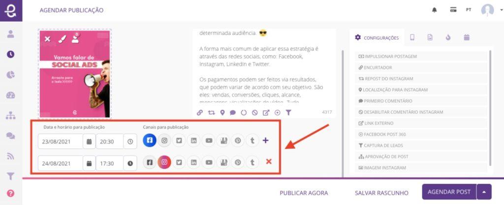 Como publicar data e hora diferente para cada rede social?