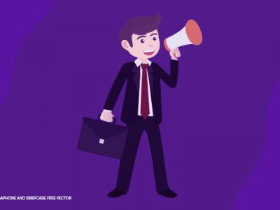 ilustração de homem segurando um megafone