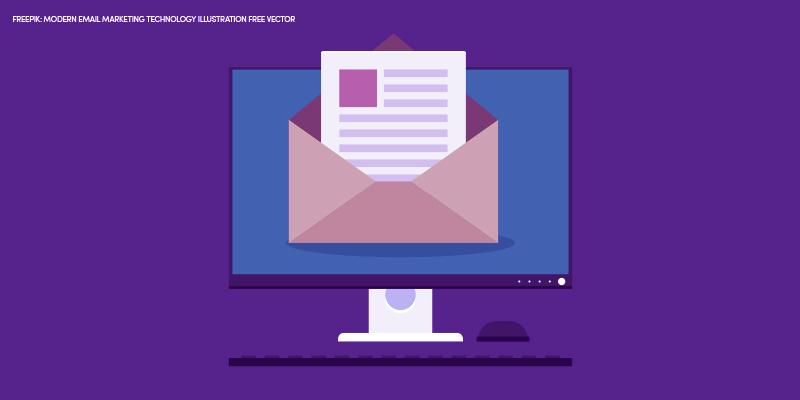 caixa de email abrindo na tela do computador