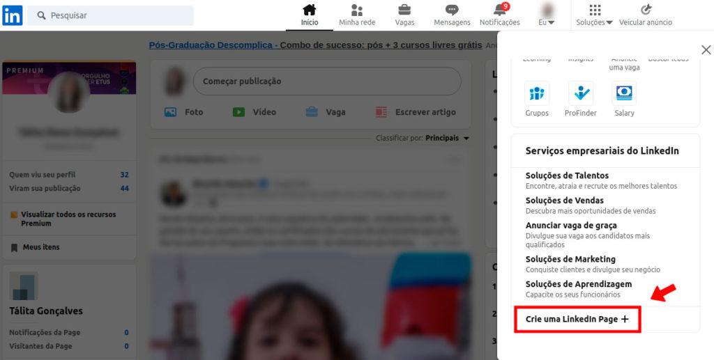 Como criar uma LinkedIn Page